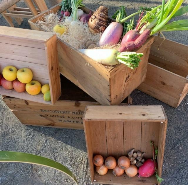 野菜を輸送するための木箱